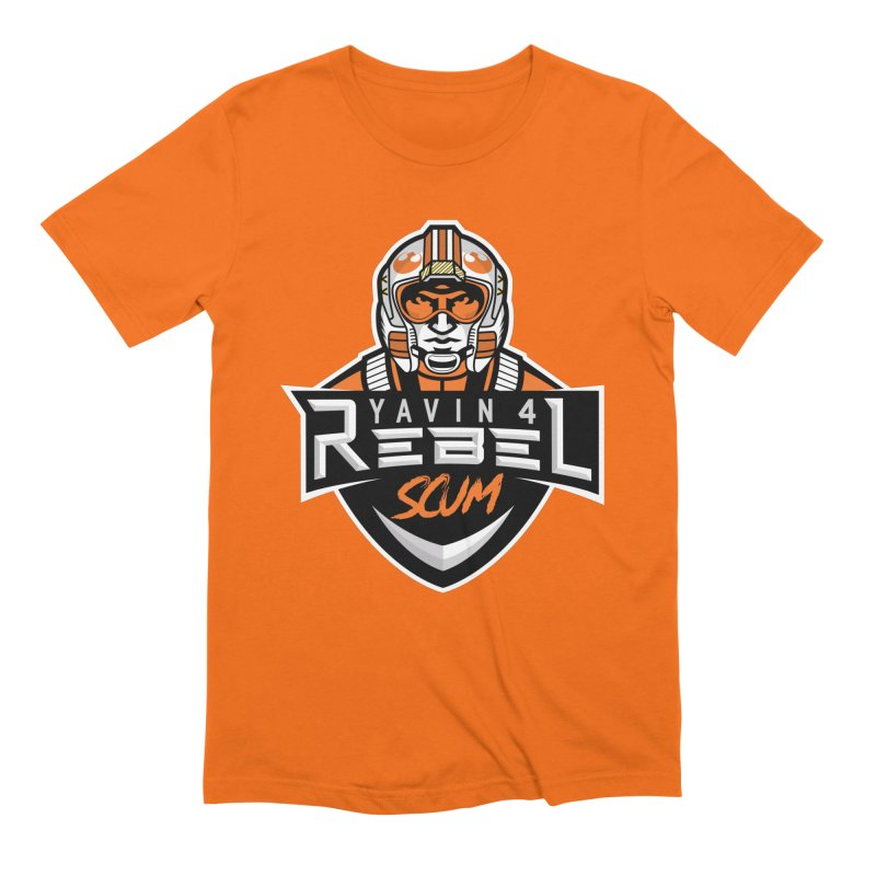 Yavin 4 Rebel Scum in Men's Extra Soft T-Shirt Bright Orange by Chicago Bruise Brothers Roller Derby