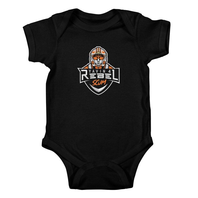 Yavin 4 Rebel Scum Kids Baby Bodysuit by Chicago Bruise Brothers Roller Derby