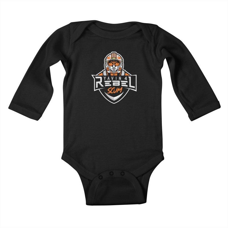 Yavin 4 Rebel Scum Kids Baby Longsleeve Bodysuit by Chicago Bruise Brothers Roller Derby
