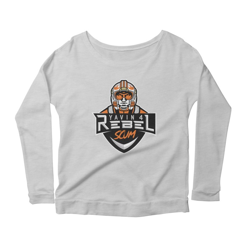 Yavin 4 Rebel Scum Women's Scoop Neck Longsleeve T-Shirt by Chicago Bruise Brothers Roller Derby