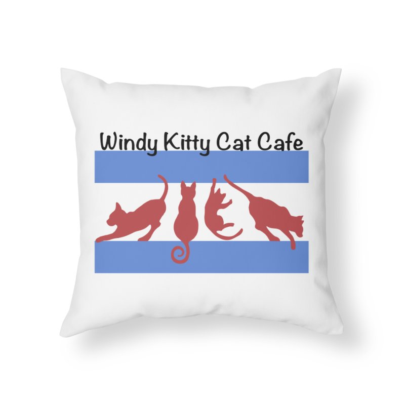 Chicago Cat Flag Home Throw Pillow by Chicago Cat Chicks Cat Merch!