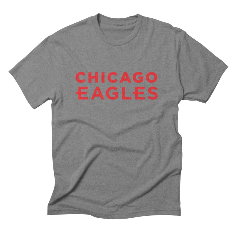 Red Wordmark Men's Triblend T-Shirt by Chicago Eagles