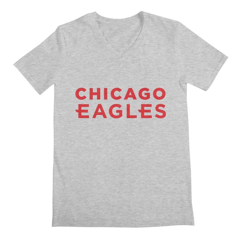 Red Wordmark Men's Regular V-Neck by Chicago Eagles