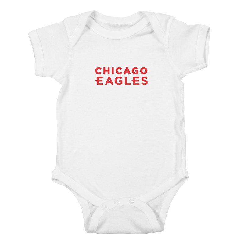 Red Wordmark Kids Baby Bodysuit by Chicago Eagles
