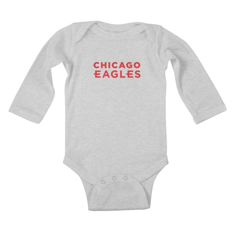 Red Wordmark Kids Baby Longsleeve Bodysuit by Chicago Eagles