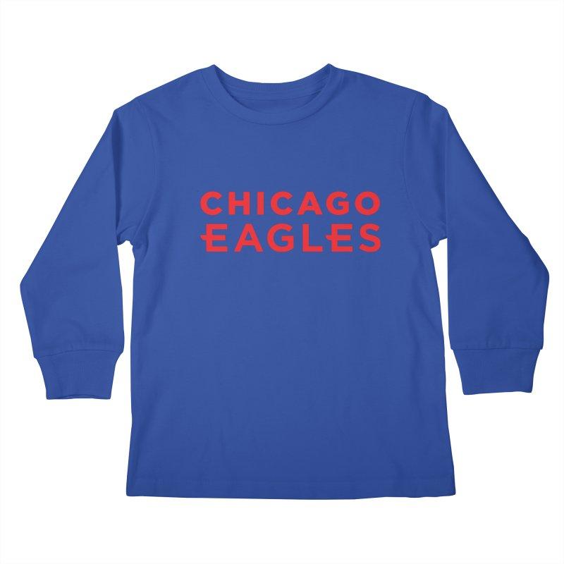 Red Wordmark Kids Longsleeve T-Shirt by Chicago Eagles