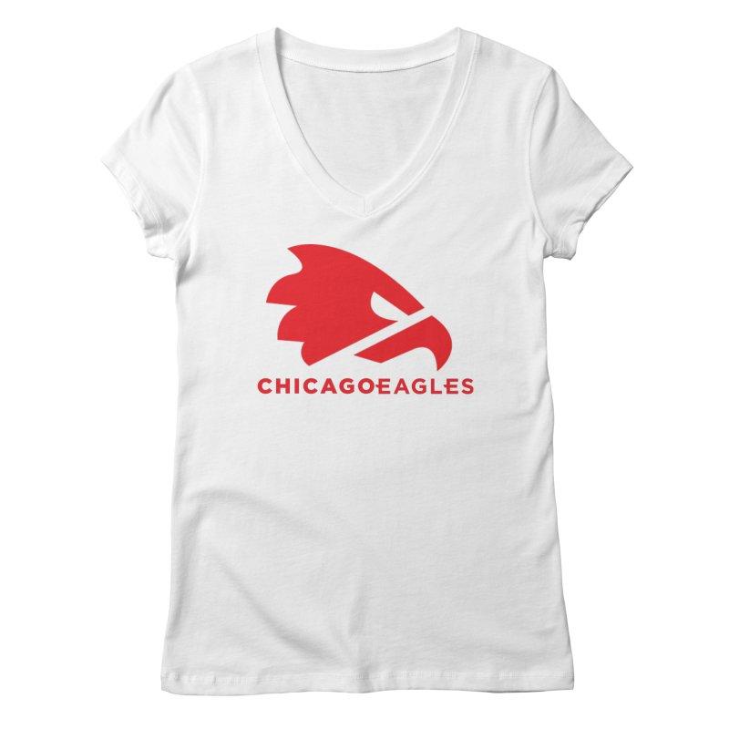 Red Eagles Mark Women's Regular V-Neck by Chicago Eagles