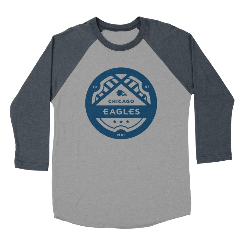 Navy Chicago Eagles Crest Men's Baseball Triblend Longsleeve T-Shirt by Chicago Eagles