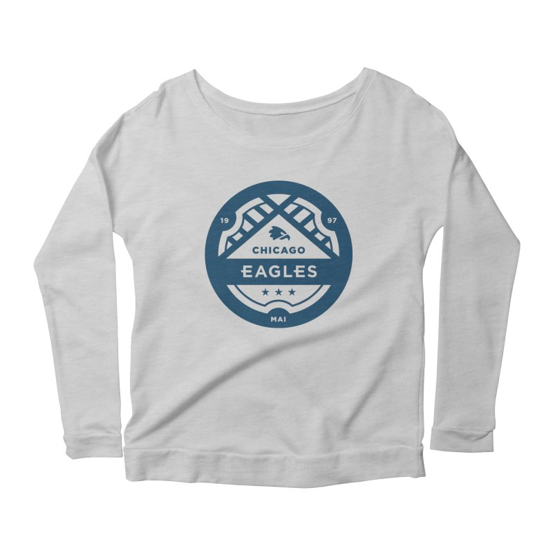 Navy Chicago Eagles Crest Women's Scoop Neck Longsleeve T-Shirt by Chicago Eagles