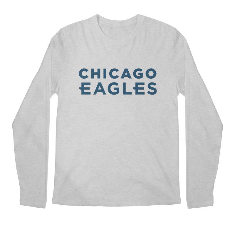 Navy Wordmark Men's Regular Longsleeve T-Shirt by Chicago Eagles