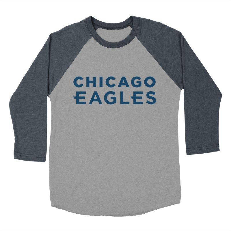 Navy Wordmark Men's Baseball Triblend Longsleeve T-Shirt by Chicago Eagles