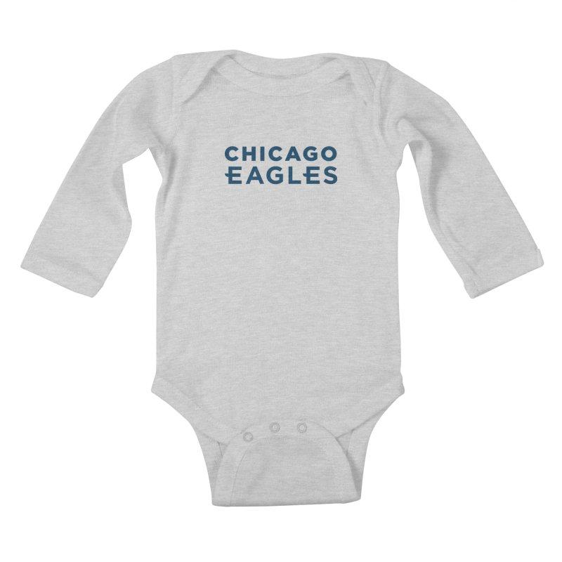 Navy Wordmark Kids Baby Longsleeve Bodysuit by Chicago Eagles