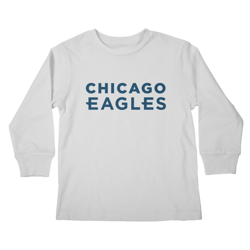Navy Wordmark Kids Longsleeve T-Shirt by Chicago Eagles