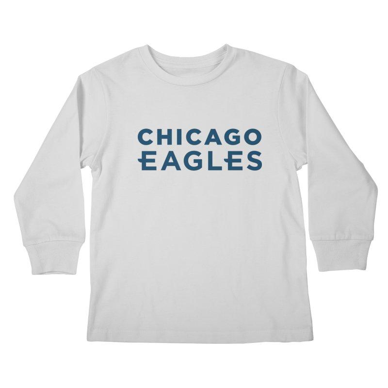 Navy Wordmark Kids Longsleeve T-Shirt by Chicago Eagles