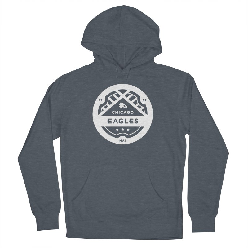 White Chicago Eagles Crest Men's French Terry Pullover Hoody by Chicago Eagles