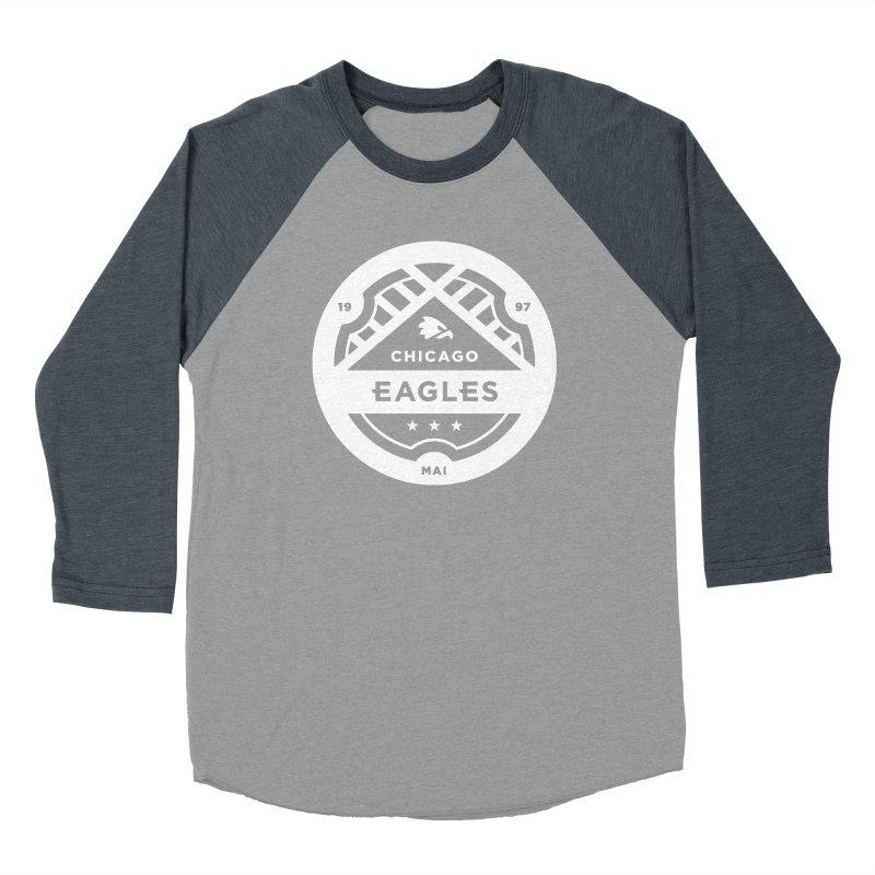 White Chicago Eagles Crest Men's Baseball Triblend Longsleeve T-Shirt by Chicago Eagles