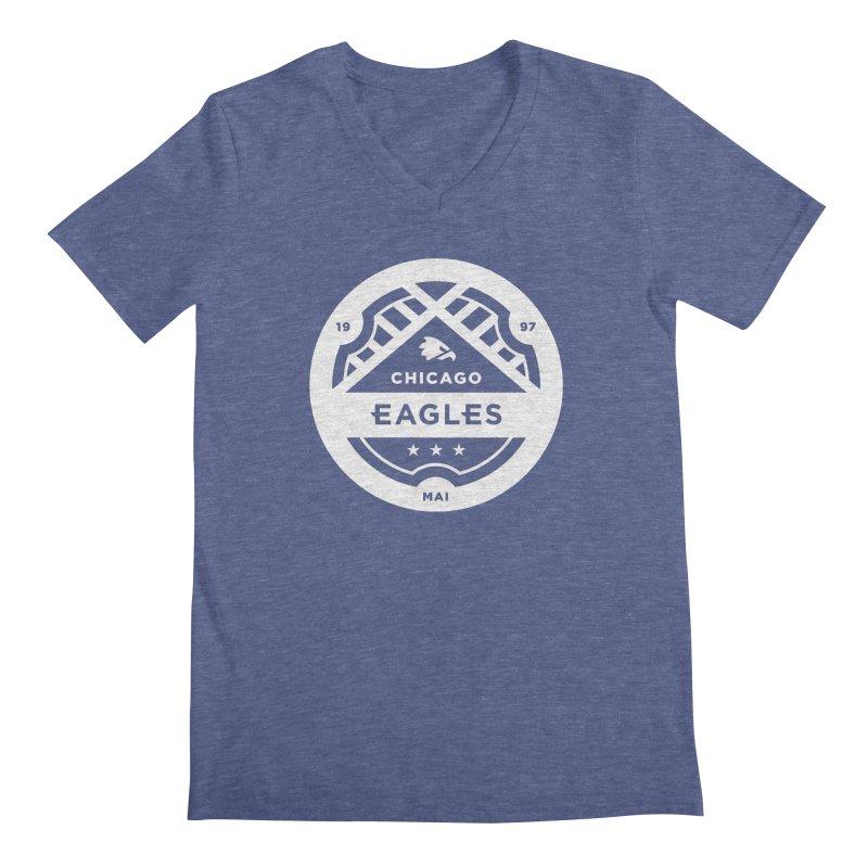 White Chicago Eagles Crest Men's Regular V-Neck by Chicago Eagles