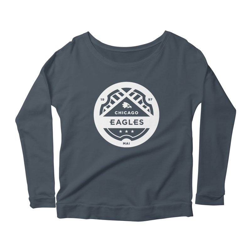White Chicago Eagles Crest Women's Scoop Neck Longsleeve T-Shirt by Chicago Eagles