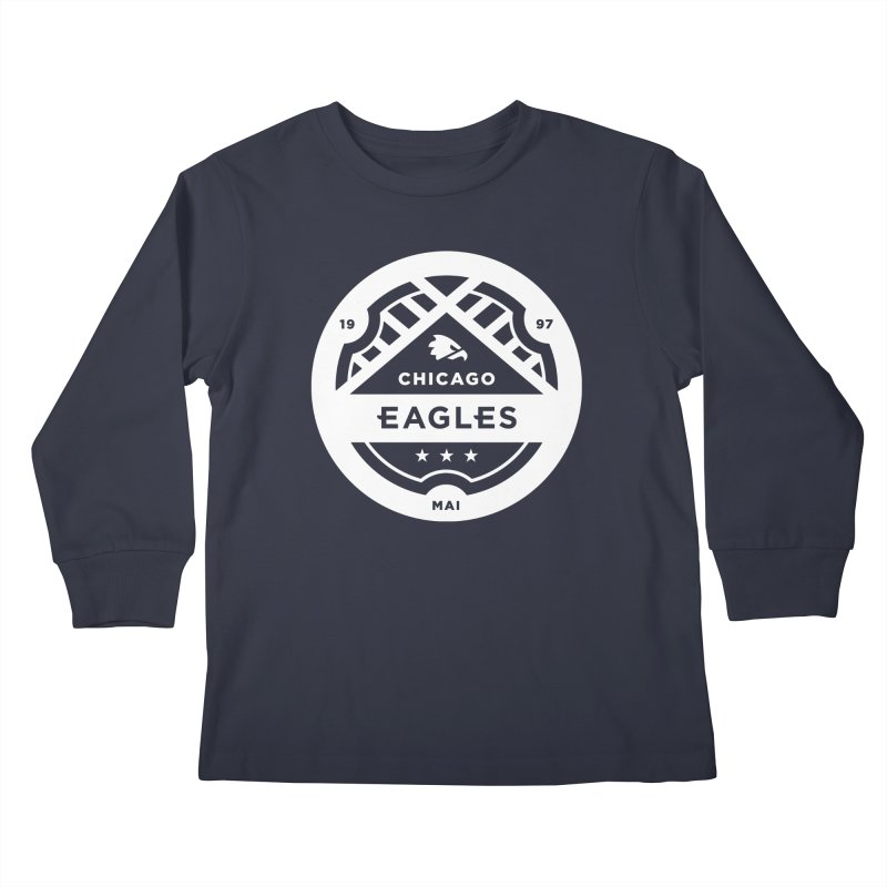 White Chicago Eagles Crest Kids Longsleeve T-Shirt by Chicago Eagles