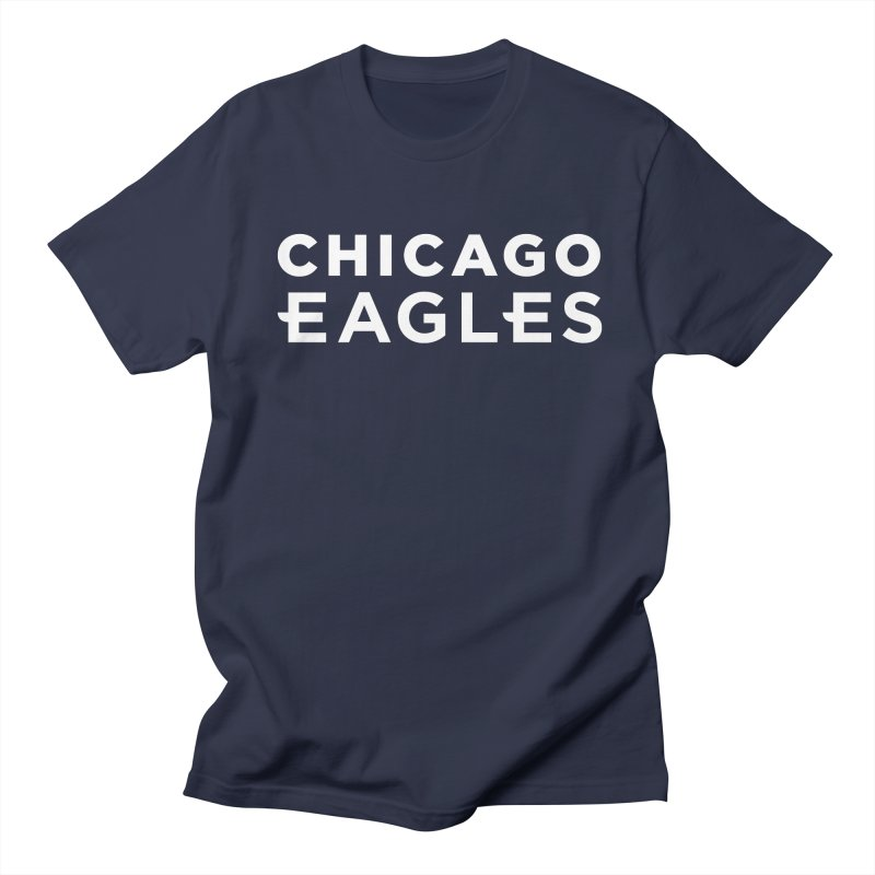 White Wordmark Men's Regular T-Shirt by Chicago Eagles