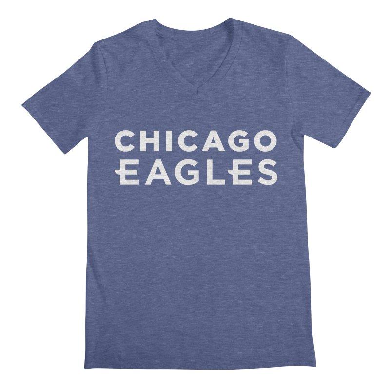 White Wordmark Men's Regular V-Neck by Chicago Eagles