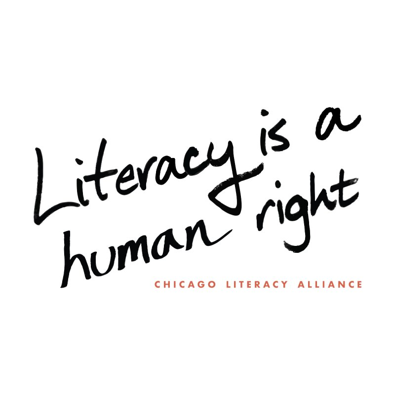 Literacy is a Human Right - black logo Men's Sweatshirt by Chicago Literacy Alliance
