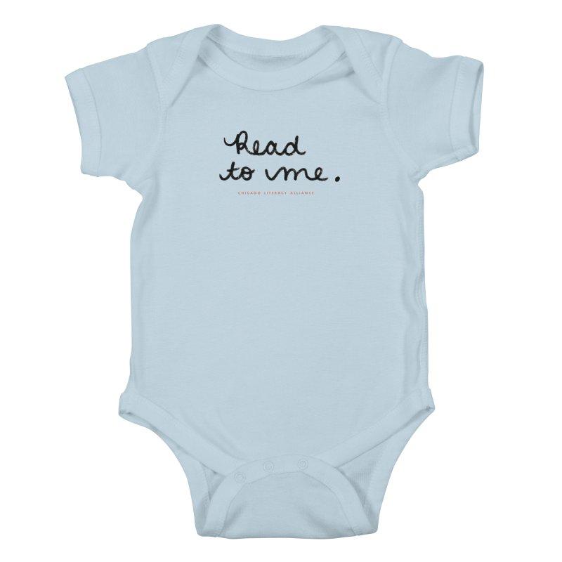 Read to me - black logo Kids Baby Bodysuit by Chicago Literacy Alliance