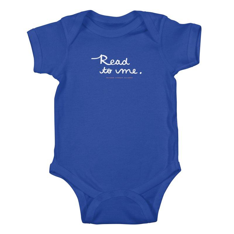 Read to me - white logo Kids Baby Bodysuit by Chicago Literacy Alliance