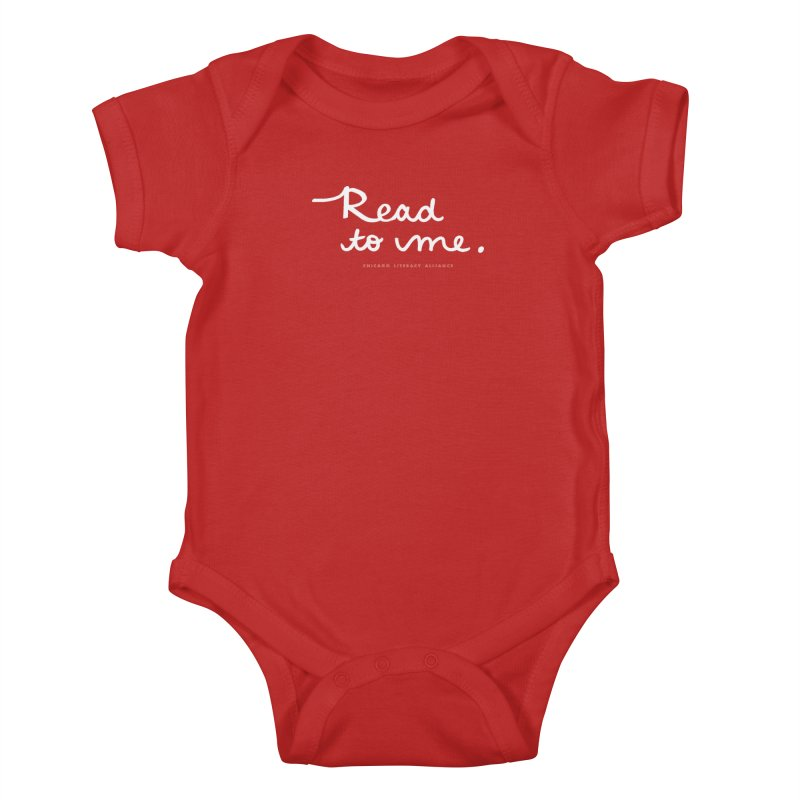 Read to me - white logo Kids Baby Bodysuit by Chicago Literacy Alliance