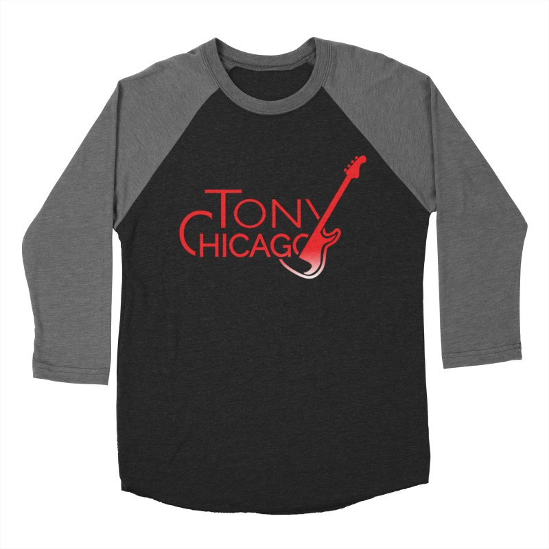 Tony Chicago Russell Red Gradient Men's Baseball Triblend Longsleeve T-Shirt by Chicago Music's Apparel and Retail Shop