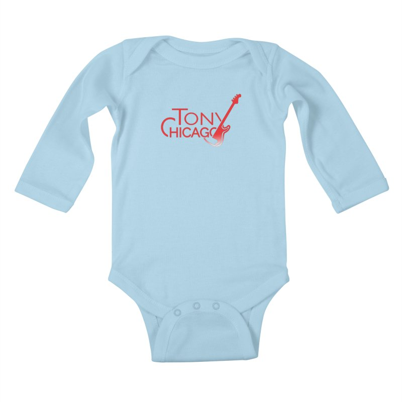 Tony Chicago Russell Red Gradient Kids Baby Longsleeve Bodysuit by Chicago Music's Apparel and Retail Shop