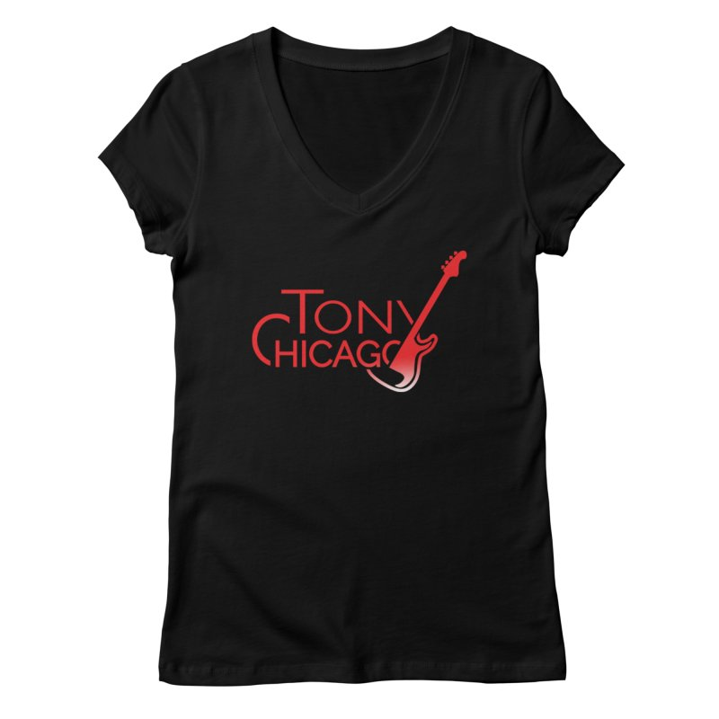 Tony Chicago Russell Red Gradient Women's Regular V-Neck by Chicago Music's Apparel and Retail Shop
