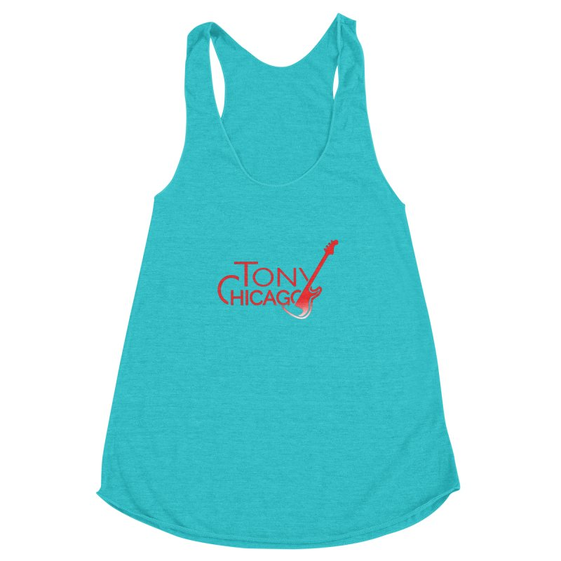 Tony Chicago Russell Red Gradient Women's Racerback Triblend Tank by Chicago Music's Apparel and Retail Shop