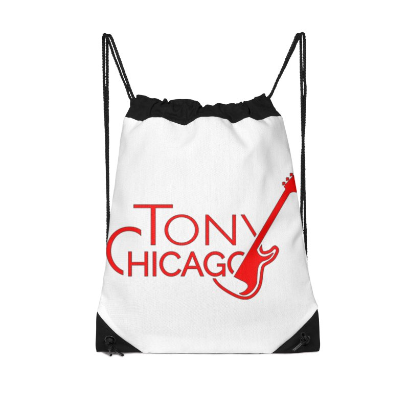 Tony Chicago Russell Red Accessories Drawstring Bag Bag by Chicago Music's Apparel and Retail Shop