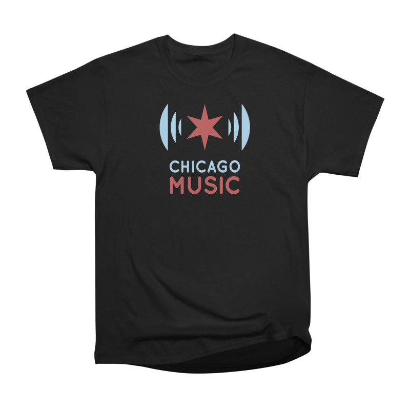 Chicago Music in Men's Heavyweight T-Shirt Black by Chicago Music's Apparel and Retail Shop