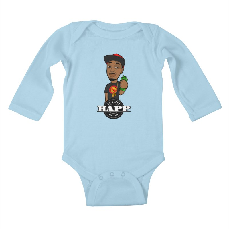 No Sleep Happ Kids Baby Longsleeve Bodysuit by Chicago Music's Artist Shop