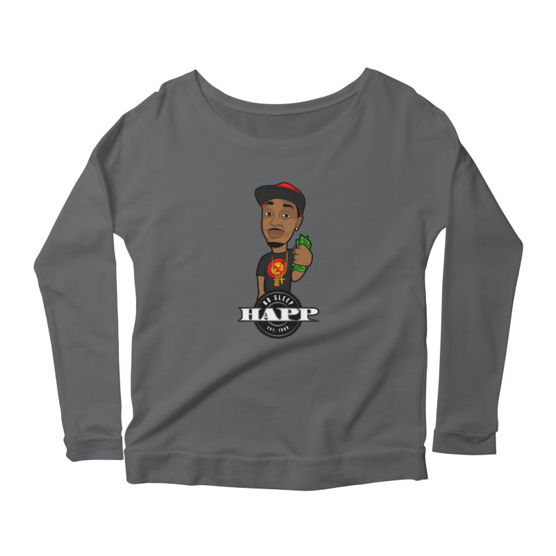 No Sleep Happ Women's Longsleeve Scoopneck  by Chicago Music's Apparel and Retail Shop
