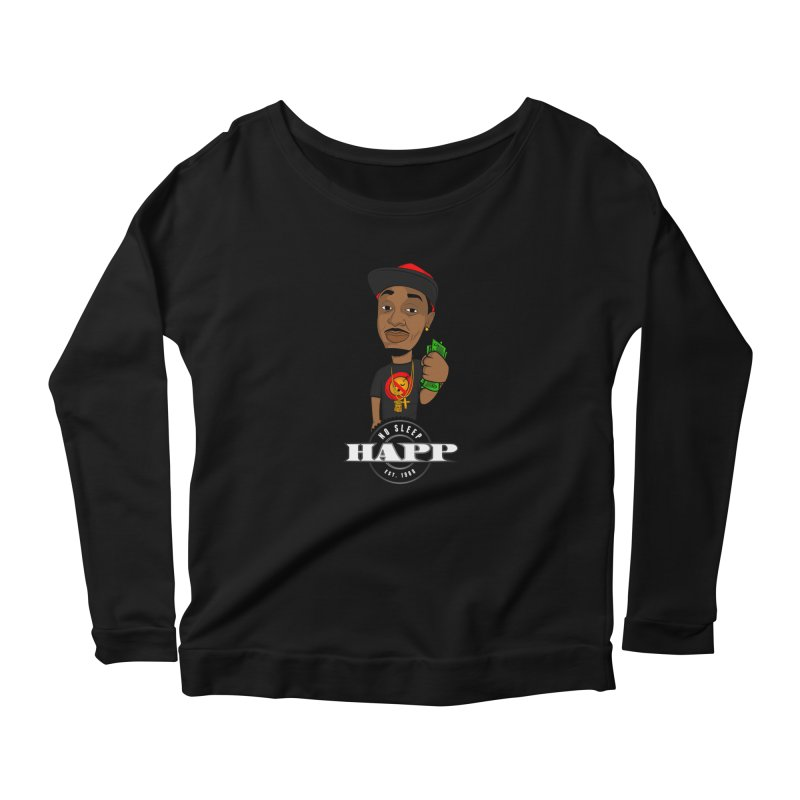 No Sleep Happ Women's Scoop Neck Longsleeve T-Shirt by Chicago Music's Apparel and Retail Shop