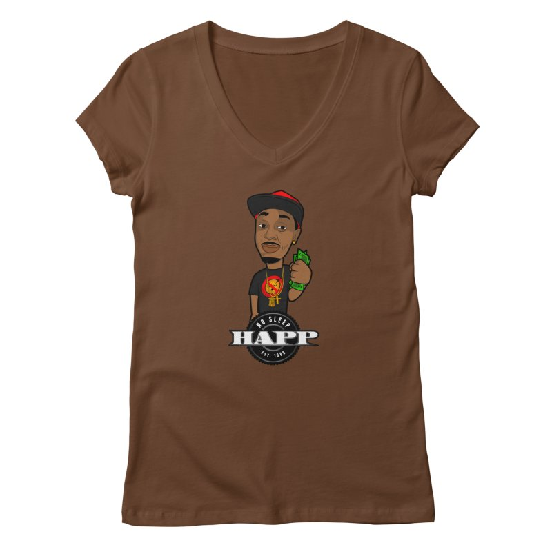 No Sleep Happ Women's V-Neck by Chicago Music's Apparel and Retail Shop