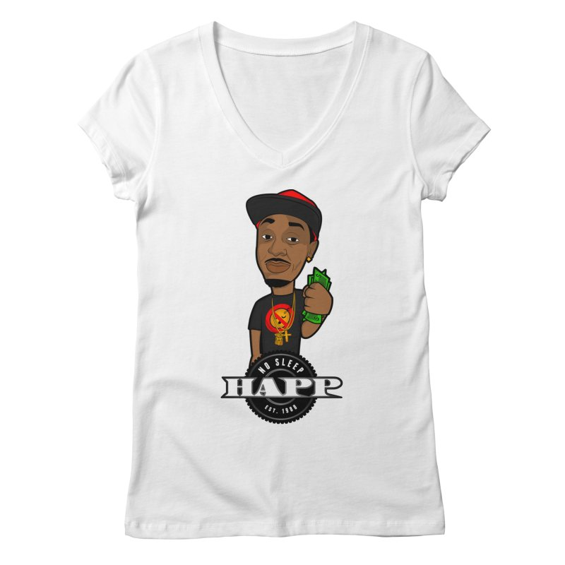 No Sleep Happ Women's Regular V-Neck by Chicago Music's Apparel and Retail Shop
