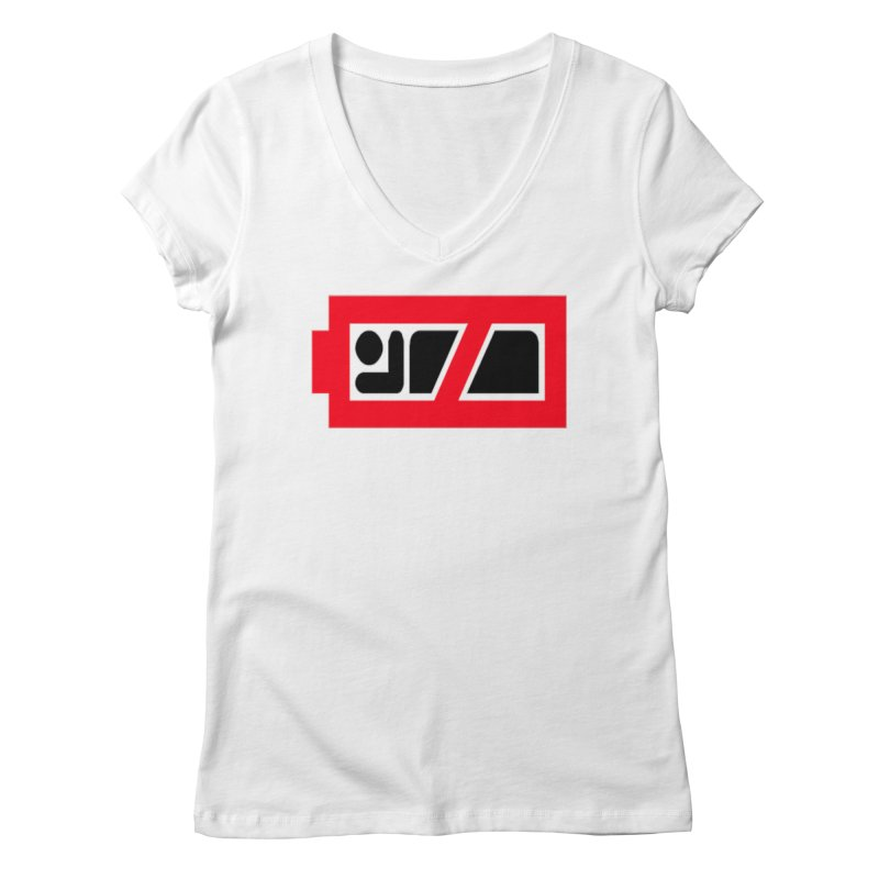 No Sleep Battery Women's Regular V-Neck by Chicago Music's Apparel and Retail Shop