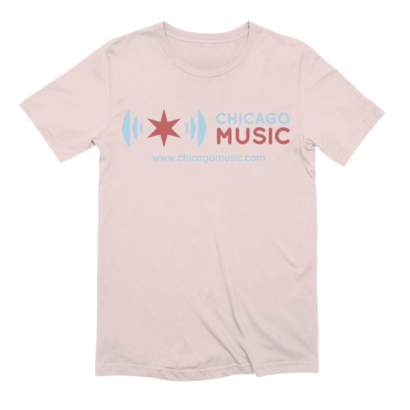 Chicago Music Logo Website Men's Extra Soft T-Shirt by Chicago Music's Apparel and Retail Shop