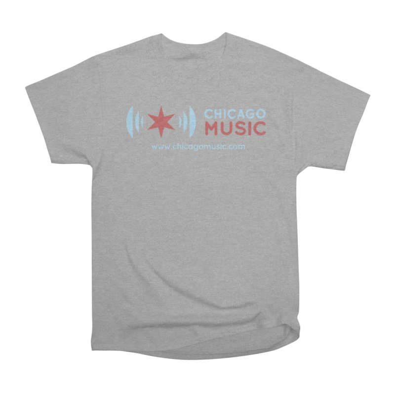 Chicago Music Logo Website Men's Heavyweight T-Shirt by Chicago Music's Apparel and Retail Shop