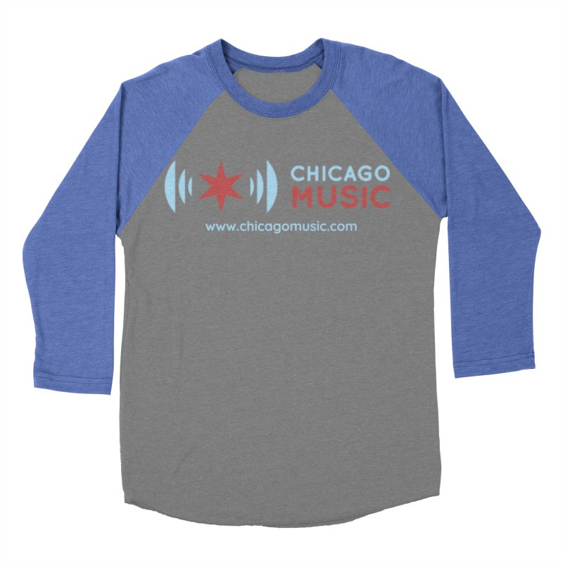Chicago Music Logo Website Men's Baseball Triblend Longsleeve T-Shirt by Chicago Music's Apparel and Retail Shop