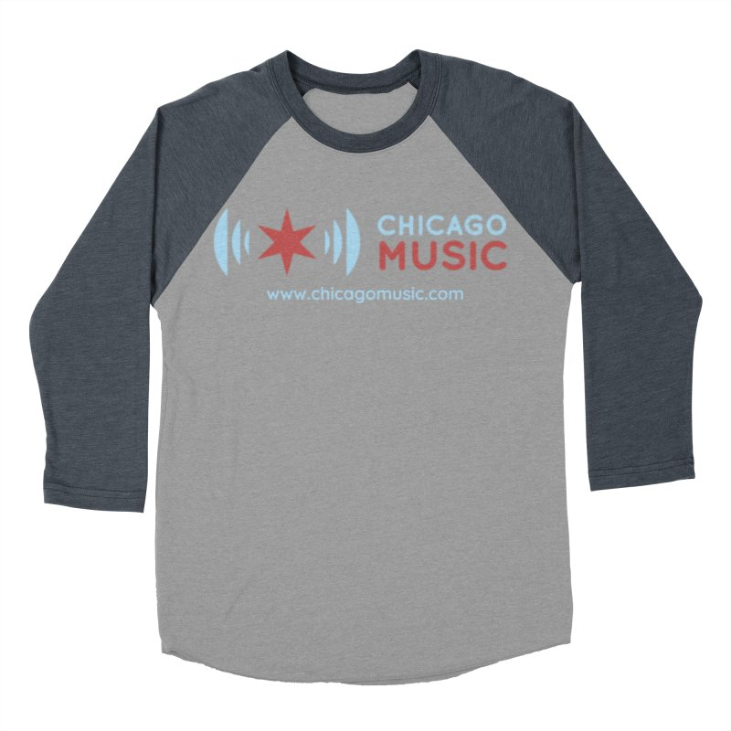 Chicago Music Logo Website Men's Baseball Triblend T-Shirt by Chicago Music's Apparel and Retail Shop