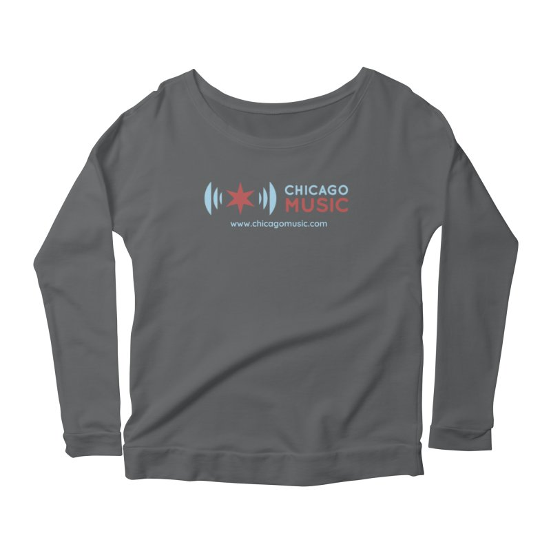 Chicago Music Logo Website Women's Scoop Neck Longsleeve T-Shirt by Chicago Music's Apparel and Retail Shop