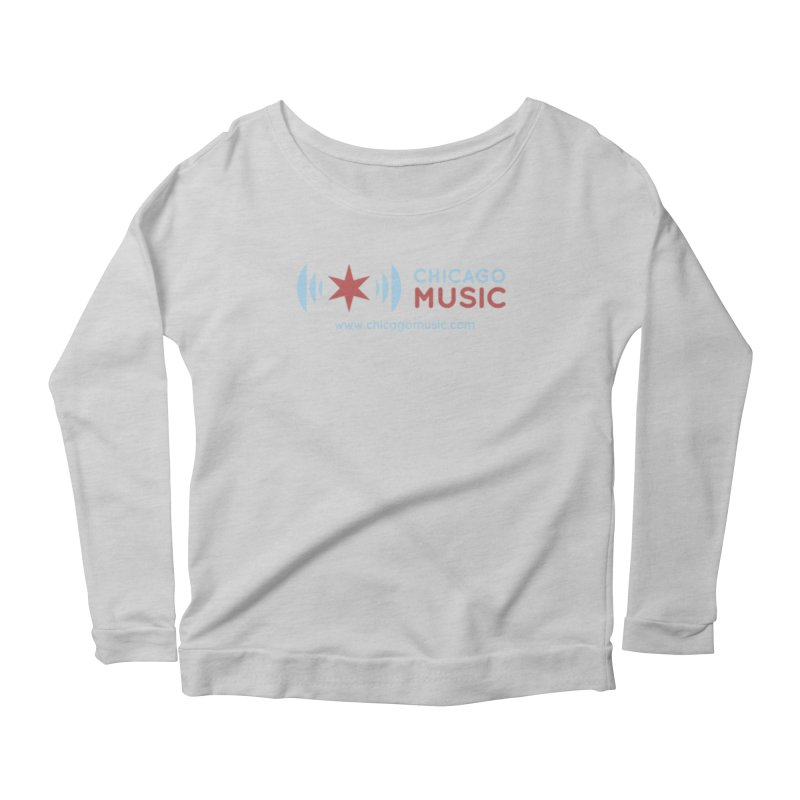 Chicago Music Logo Website Women's Longsleeve Scoopneck  by Chicago Music's Apparel and Retail Shop