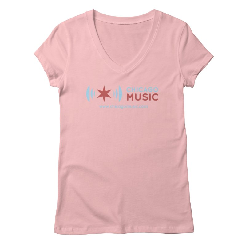 Chicago Music Logo Website Women's V-Neck by Chicago Music's Apparel and Retail Shop