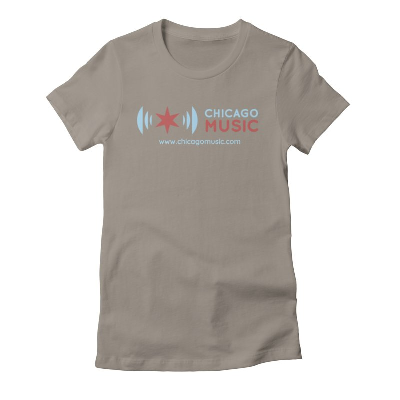 Chicago Music Logo Website Women's Fitted T-Shirt by Chicago Music's Apparel and Retail Shop
