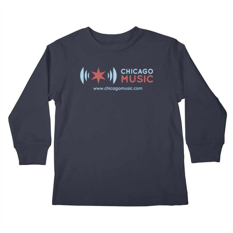 Chicago Music Logo Website Kids Longsleeve T-Shirt by Chicago Music's Apparel and Retail Shop